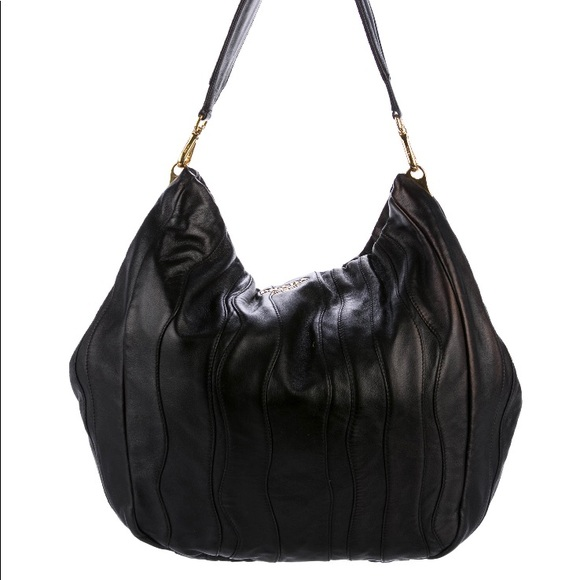 43135dc3abfa Prada Bags | Black Leather Nappa Waves Hobo | Poshmark